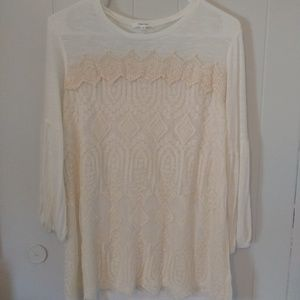 Maurices Embroidered Woman Top White Blouse size L